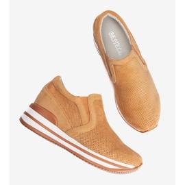 Pomarańczowe sneakersy na koturnie Miny 2