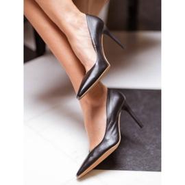 Marco Shoes Szpilki skórzane z wydłużonym przodem czarne 8