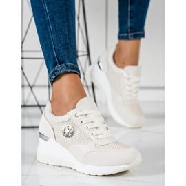 SHELOVET Lekkie Sneakersy Na Koturnie beżowy 4