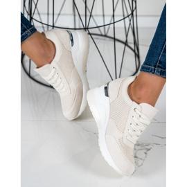 SHELOVET Lekkie Sneakersy Na Koturnie beżowy 1