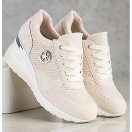 SHELOVET Lekkie Sneakersy Na Koturnie beżowy 2