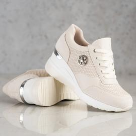 SHELOVET Lekkie Sneakersy Na Koturnie beżowy 3