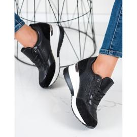 SHELOVET Lekkie Sneakersy Na Koturnie czarne 1