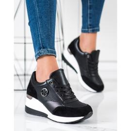 SHELOVET Lekkie Sneakersy Na Koturnie czarne 4