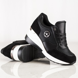 SHELOVET Lekkie Sneakersy Na Koturnie czarne 2