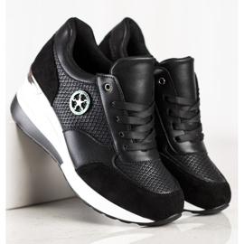 SHELOVET Lekkie Sneakersy Na Koturnie czarne 3
