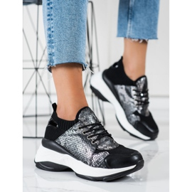 SHELOVET Wsuwane Sneakersy Snake Print czarne 3