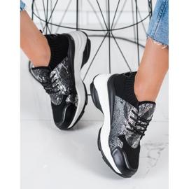 SHELOVET Wsuwane Sneakersy Snake Print czarne 1