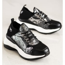 SHELOVET Wsuwane Sneakersy Snake Print czarne 2