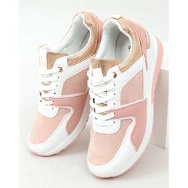 Buty sportowe na koturnie wielokolorowe AD-353 Pink różowe 1