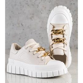 SHELOVET Sneakersy Z Łańcuchem Fashion beżowy 3