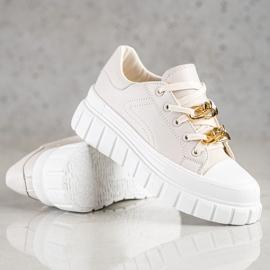 SHELOVET Sneakersy Z Łańcuchem Fashion beżowy 4