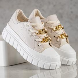 SHELOVET Sneakersy Z Łańcuchem Fashion beżowy 5
