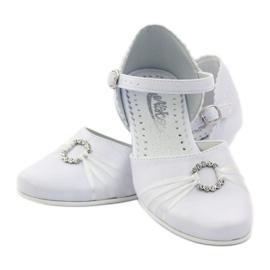 Czółenka balerinki komunijne Miko 710 białe 3