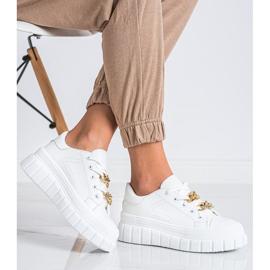 SHELOVET Sneakersy Z Łańcuchem Fashion białe 3