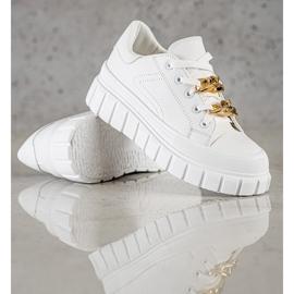 SHELOVET Sneakersy Z Łańcuchem Fashion białe 1