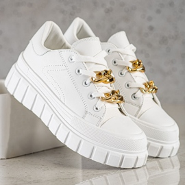 SHELOVET Sneakersy Z Łańcuchem Fashion białe 2