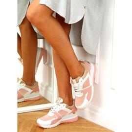 Buty sportowe na koturnie wielokolorowe AD-353 Pink różowe 4
