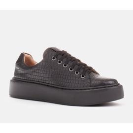 Marco Shoes Lekkie sneakersy ze skóry typu nappa czarne 1