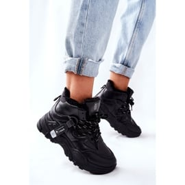 PE1 Damskie Ocieplane Sneakersy Śniegowce Czarne Kaphia 4