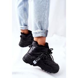 PE1 Damskie Ocieplane Sneakersy Śniegowce Czarne Kaphia 3
