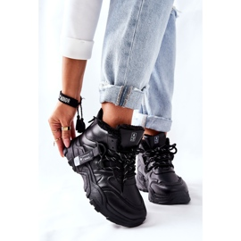 PE1 Damskie Ocieplane Sneakersy Śniegowce Czarne Kaphia 5