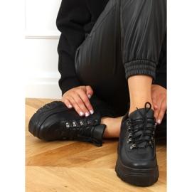 Buty sportowe na wysokiej podeszwie czarne 6291 Black 4