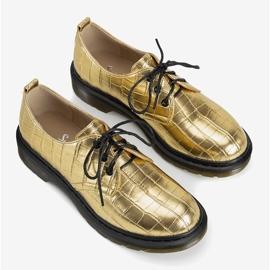 Złote oksfordy w motywie skóry krokodyla Flaure złoty 1