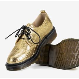 Złote oksfordy w motywie skóry krokodyla Flaure złoty 2
