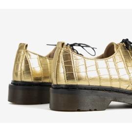 Złote oksfordy w motywie skóry krokodyla Flaure złoty 3