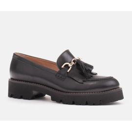 Marco Shoes Mokasyny ze złotym łańcuchem na lekkiej podeszwie czarne 3