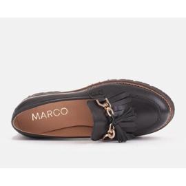 Marco Shoes Mokasyny ze złotym łańcuchem na lekkiej podeszwie czarne 7