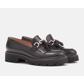 Marco Shoes Mokasyny ze złotym łańcuchem na lekkiej podeszwie czarne 8