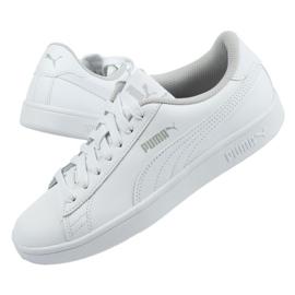 Buty Puma Smash V2 Jr 365170 02 białe niebieskie 2