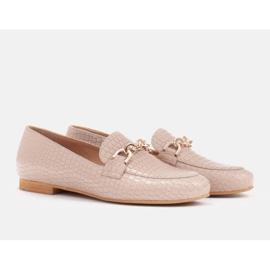 Marco Shoes Baleriny ze złotym łańcuchem beżowy 7