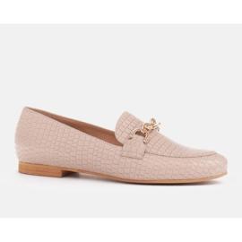 Marco Shoes Baleriny ze złotym łańcuchem beżowy 1