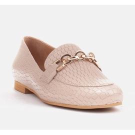 Marco Shoes Baleriny ze złotym łańcuchem beżowy 3