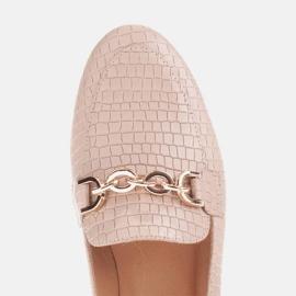 Marco Shoes Baleriny ze złotym łańcuchem beżowy 4