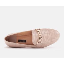 Marco Shoes Baleriny ze złotym łańcuchem beżowy 5