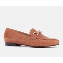 Marco Shoes Baleriny ze złotym łańcuchem brązowe 1