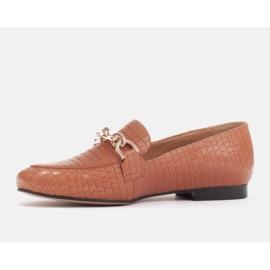 Marco Shoes Baleriny ze złotym łańcuchem brązowe 2