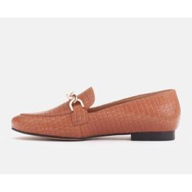 Marco Shoes Baleriny ze złotym łańcuchem brązowe 3
