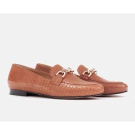 Marco Shoes Baleriny ze złotym łańcuchem brązowe 4