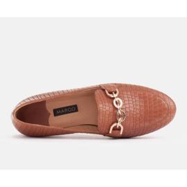 Marco Shoes Baleriny ze złotym łańcuchem brązowe 5