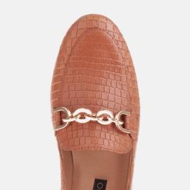 Marco Shoes Baleriny ze złotym łańcuchem brązowe 7