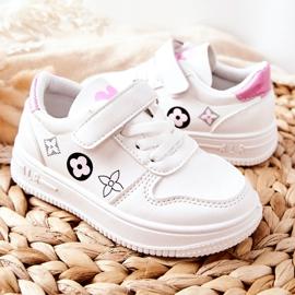 Dziecięce Sportowe Buty Na Rzepy Biało Różowe Aletris białe 4
