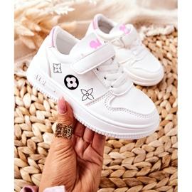 Dziecięce Sportowe Buty Na Rzepy Biało Różowe Aletris białe 1