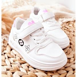 Dziecięce Sportowe Buty Na Rzepy Biało Różowe Aletris białe 2