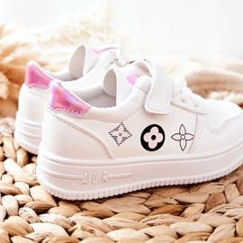 Dziecięce Sportowe Buty Na Rzepy Biało Różowe Aletris białe 3