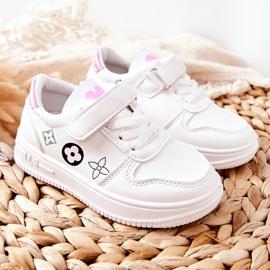 Dziecięce Sportowe Buty Na Rzepy Biało Różowe Aletris białe 5
